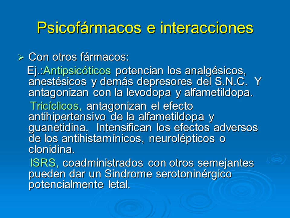 Psicofármacos e interacciones