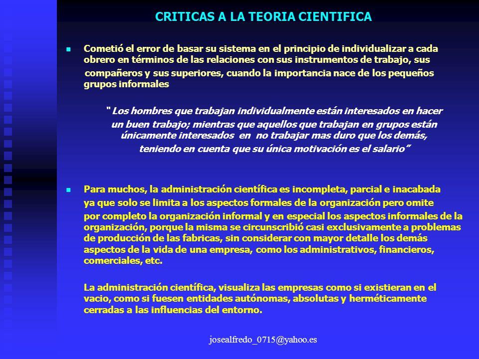 CRITICAS A LA TEORIA CIENTIFICA
