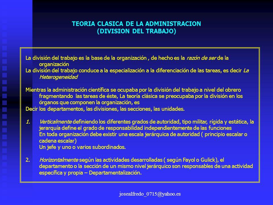 TEORIA CLASICA DE LA ADMINISTRACION (DIVISION DEL TRABAJO)