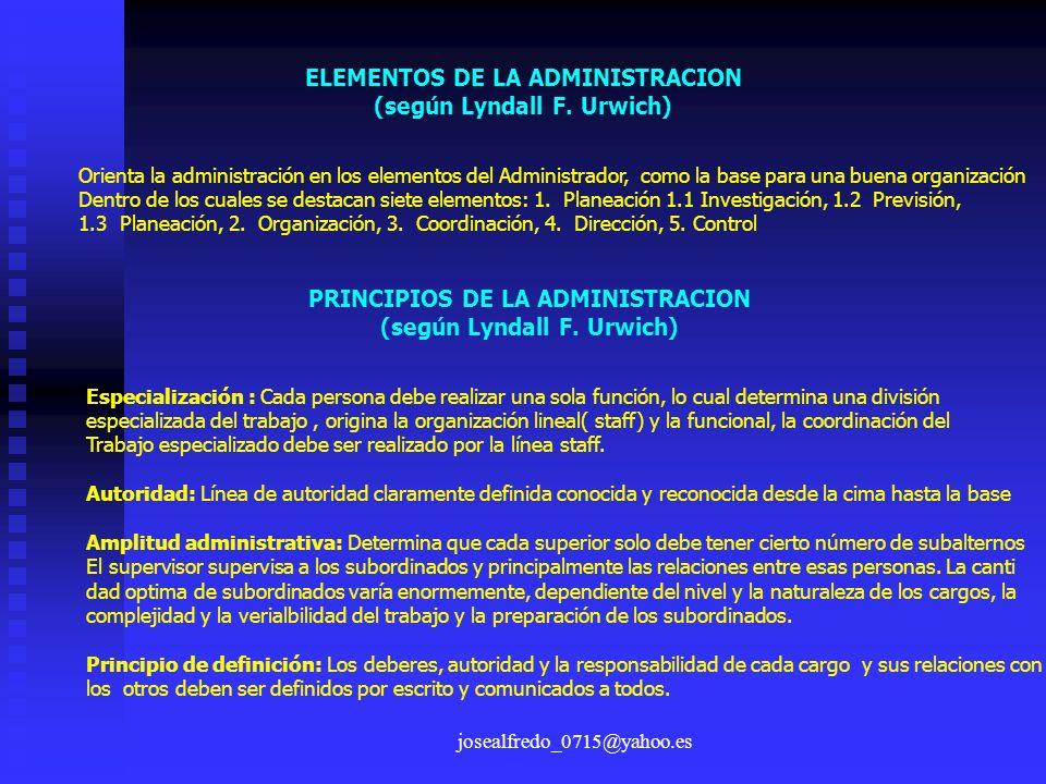 ELEMENTOS DE LA ADMINISTRACION (según Lyndall F. Urwich)
