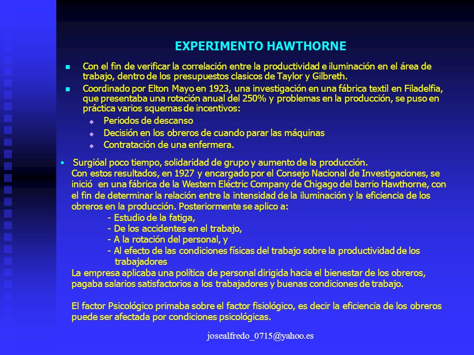 EXPERIMENTO HAWTHORNE