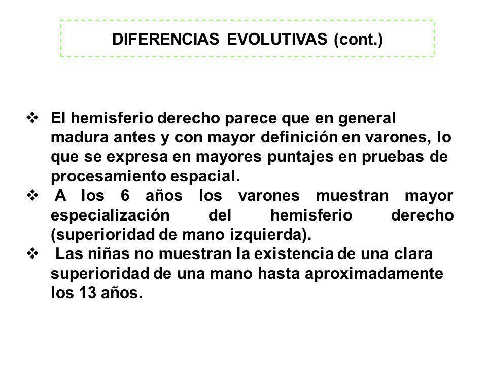DIFERENCIAS EVOLUTIVAS (cont.)