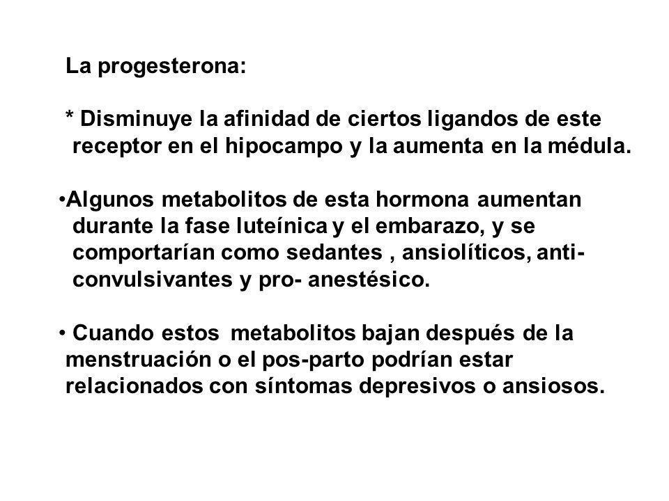 La progesterona: * Disminuye la afinidad de ciertos ligandos de este receptor en el hipocampo y la aumenta en la médula.