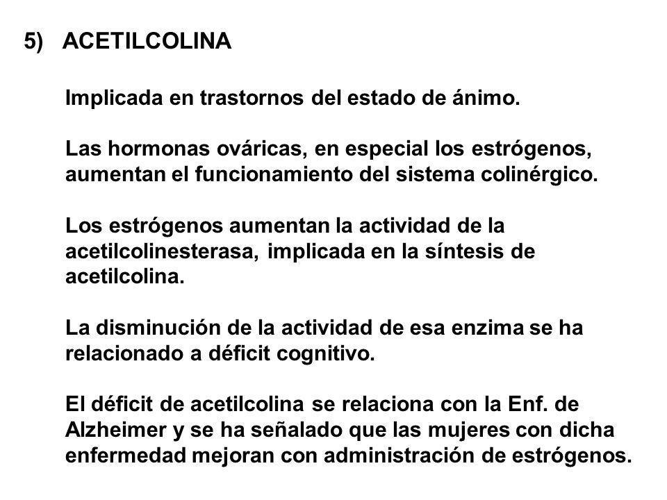 5) ACETILCOLINA Implicada en trastornos del estado de ánimo.