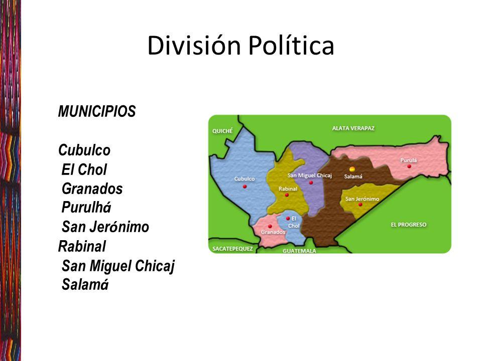 División Política MUNICIPIOS Cubulco El Chol Granados Purulhá