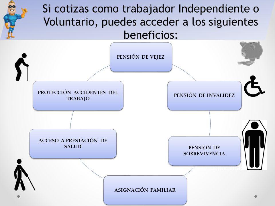 Si cotizas como trabajador Independiente o Voluntario, puedes acceder a los siguientes beneficios: