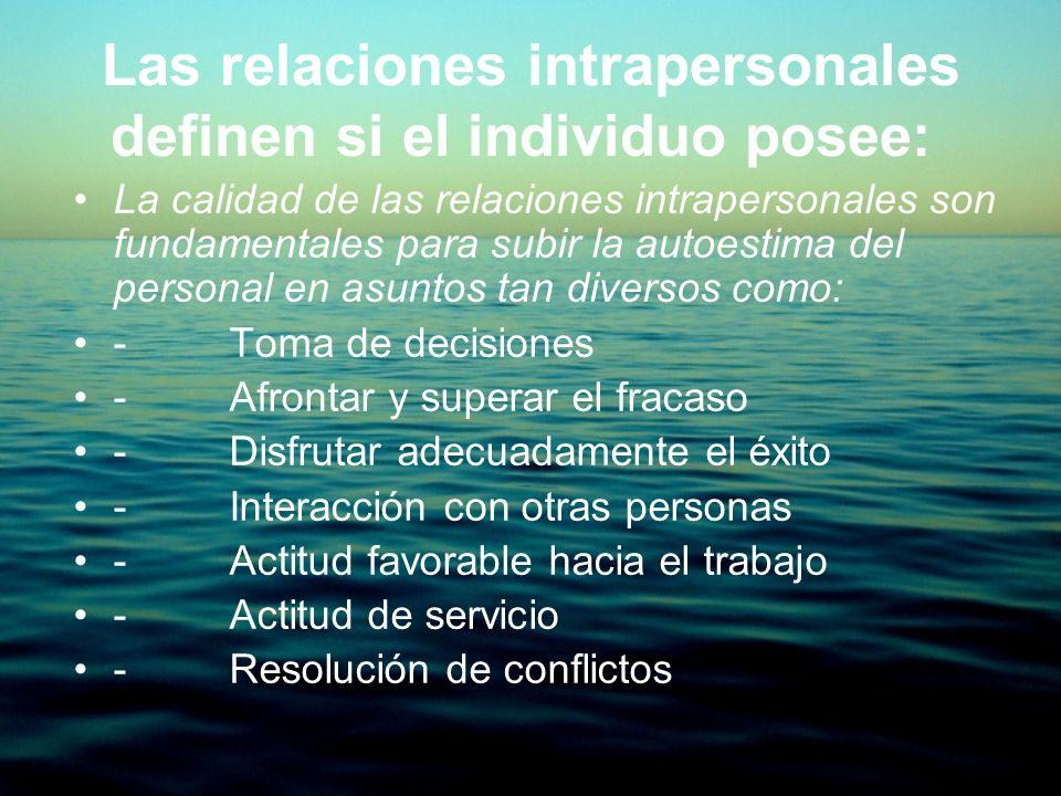 Las relaciones intrapersonales definen si el individuo posee: