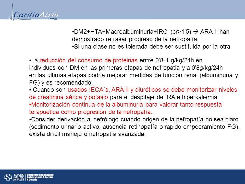 DM2+HTA+Macroalbuminuria+IRC (cr>1'5)  ARA II han