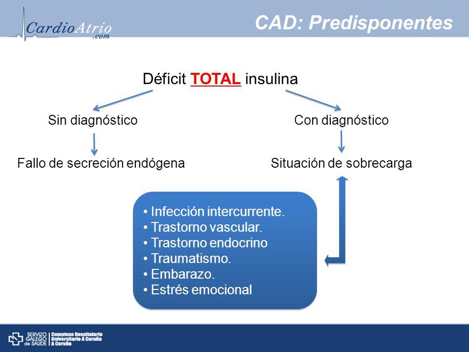 CAD: Predisponentes Déficit TOTAL insulina Sin diagnóstico
