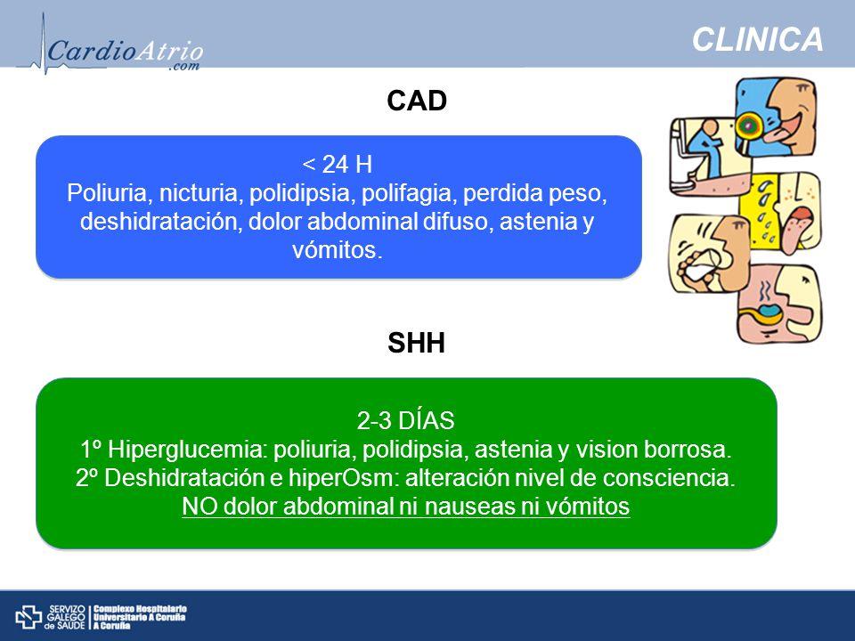 CLINICA CAD. < 24 H. Poliuria, nicturia, polidipsia, polifagia, perdida peso, deshidratación, dolor abdominal difuso, astenia y vómitos.