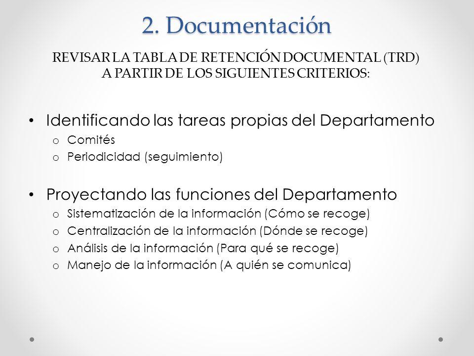 2. Documentación Identificando las tareas propias del Departamento