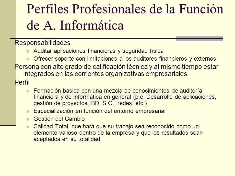 Perfiles Profesionales de la Función de A. Informática