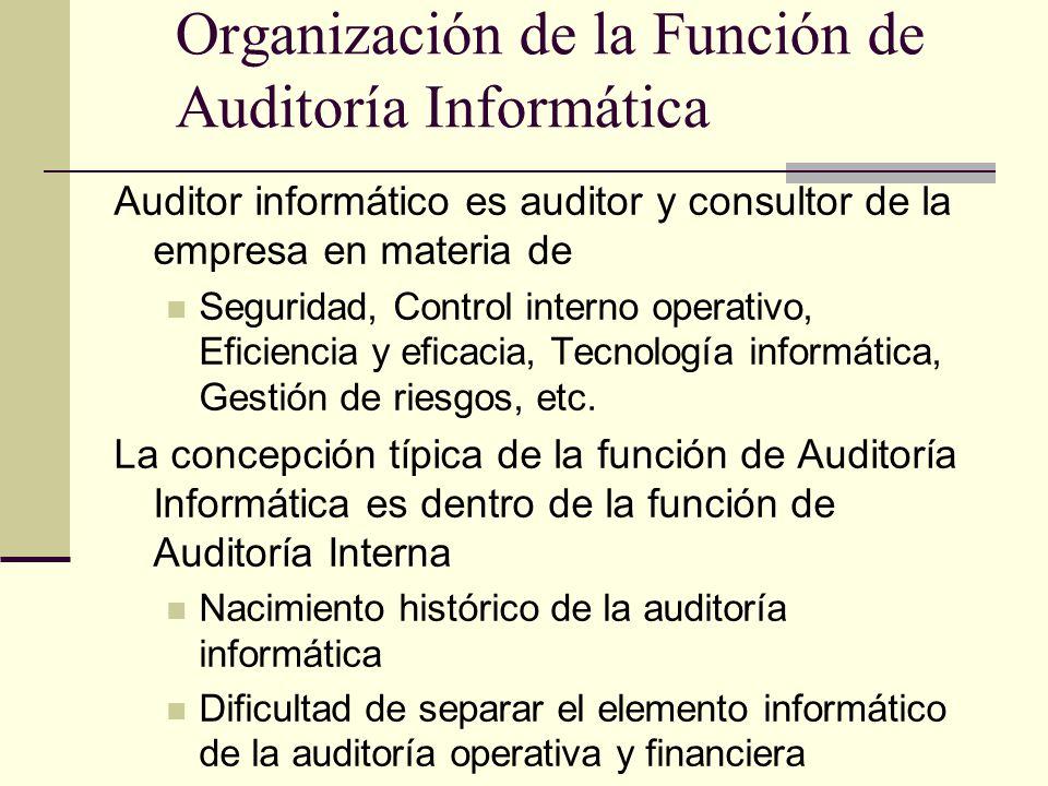 Organización de la Función de Auditoría Informática