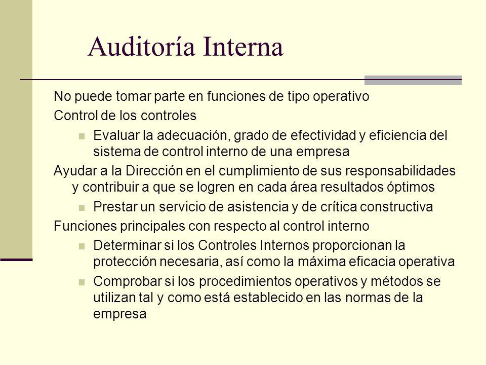 Auditoría Interna No puede tomar parte en funciones de tipo operativo