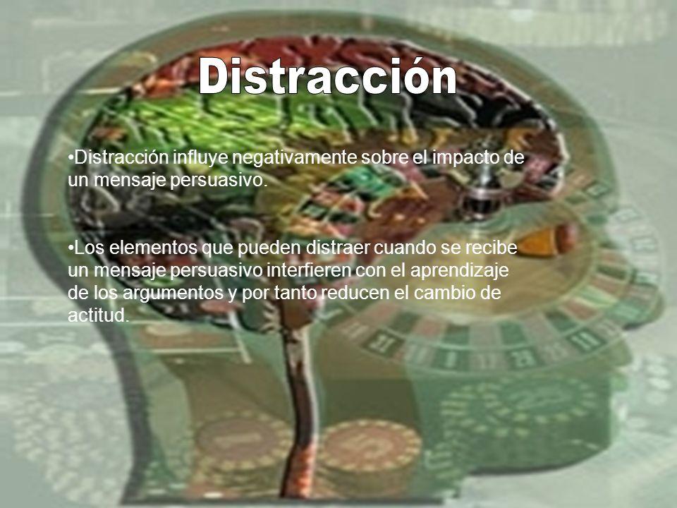 DistracciónDistracción influye negativamente sobre el impacto de un mensaje persuasivo.