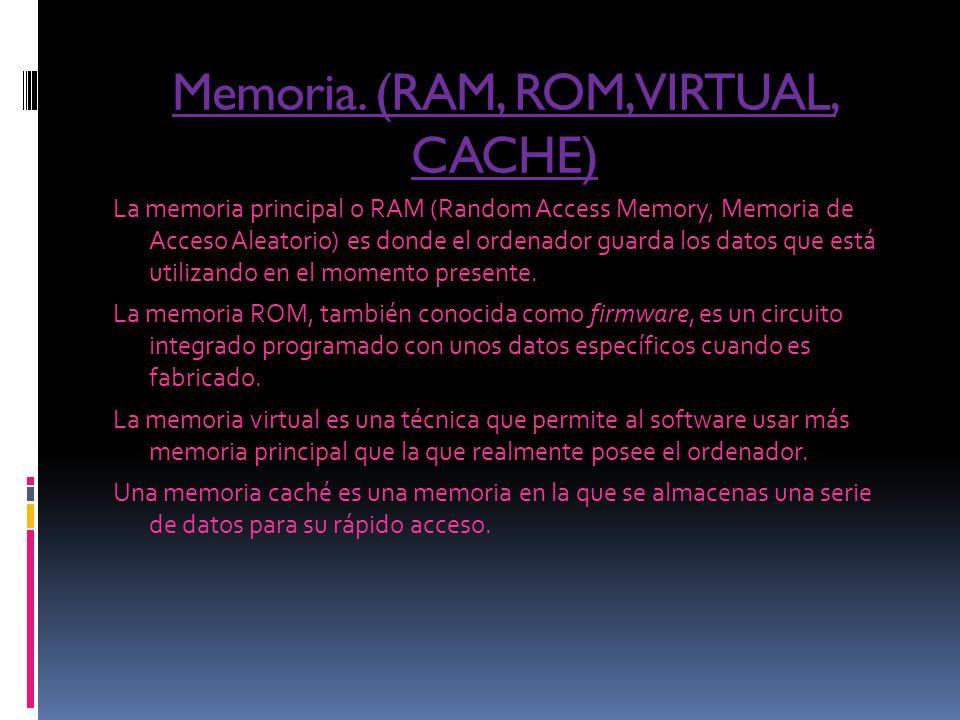 Memoria. (RAM, ROM, VIRTUAL, CACHE)