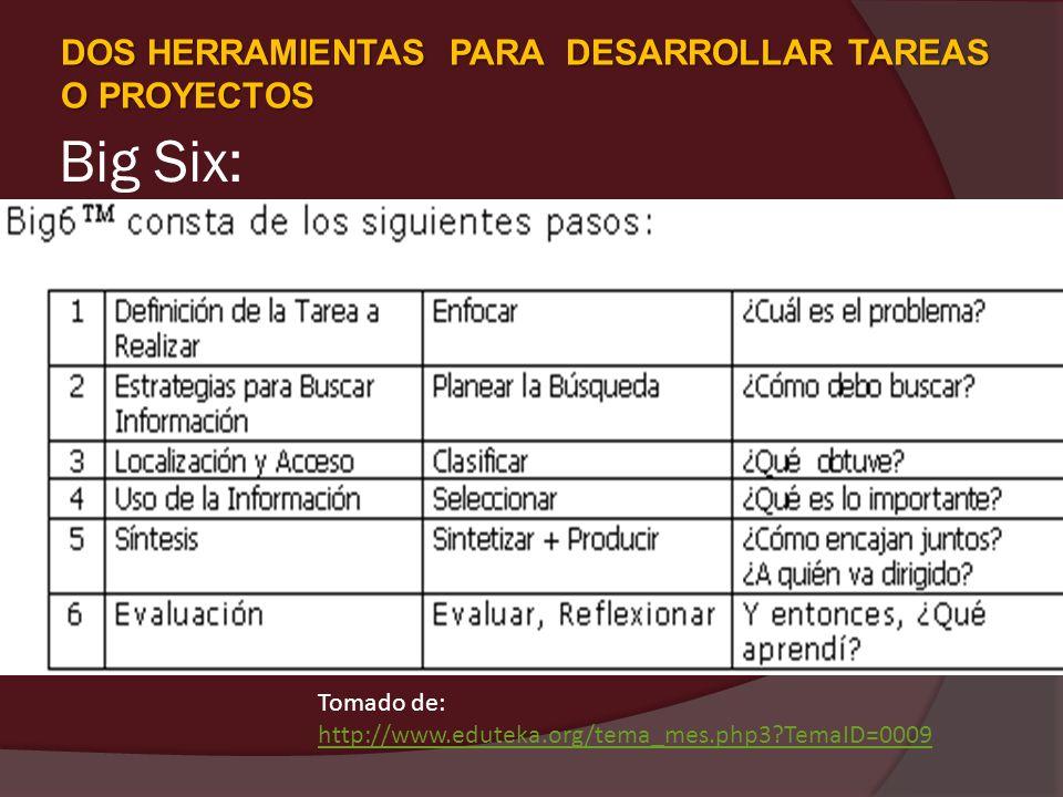Big Six: DOS HERRAMIENTAS PARA DESARROLLAR TAREAS O PROYECTOS