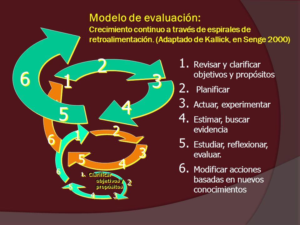 Modelo de evaluación: Crecimiento continuo a través de espirales de retroalimentación. (Adaptado de Kallick, en Senge 2000)