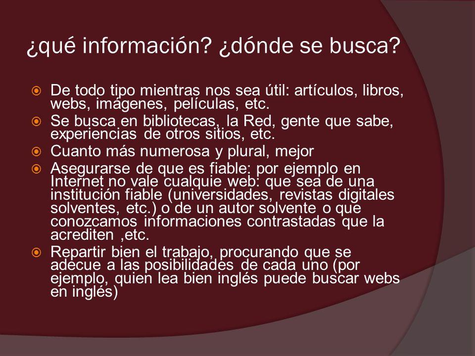 ¿qué información ¿dónde se busca