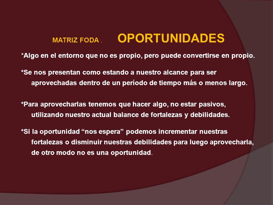 MATRIZ FODA . OPORTUNIDADES