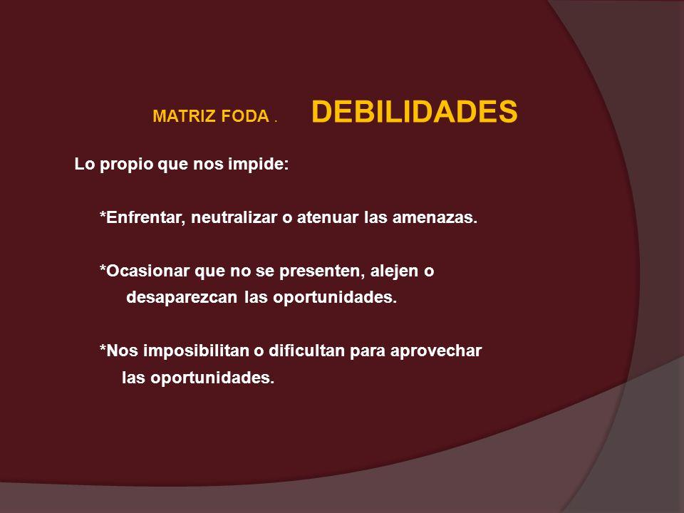 MATRIZ FODA . DEBILIDADES