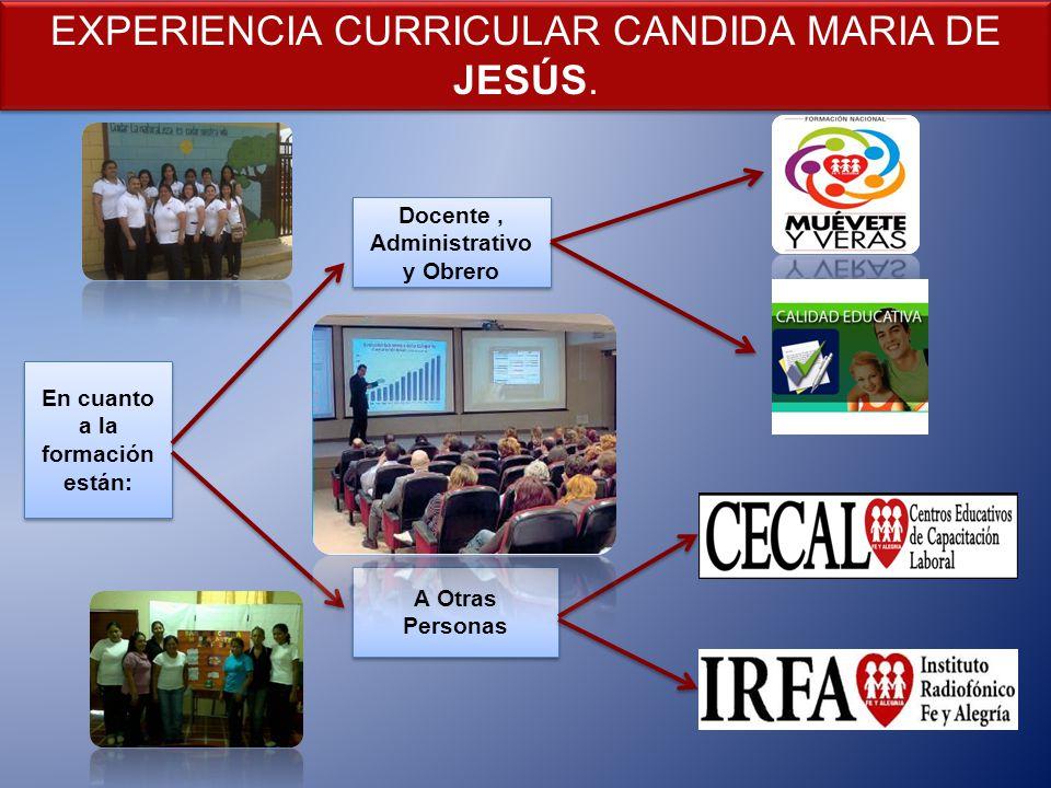 Docente , Administrativo y Obrero En cuanto a la formación están: