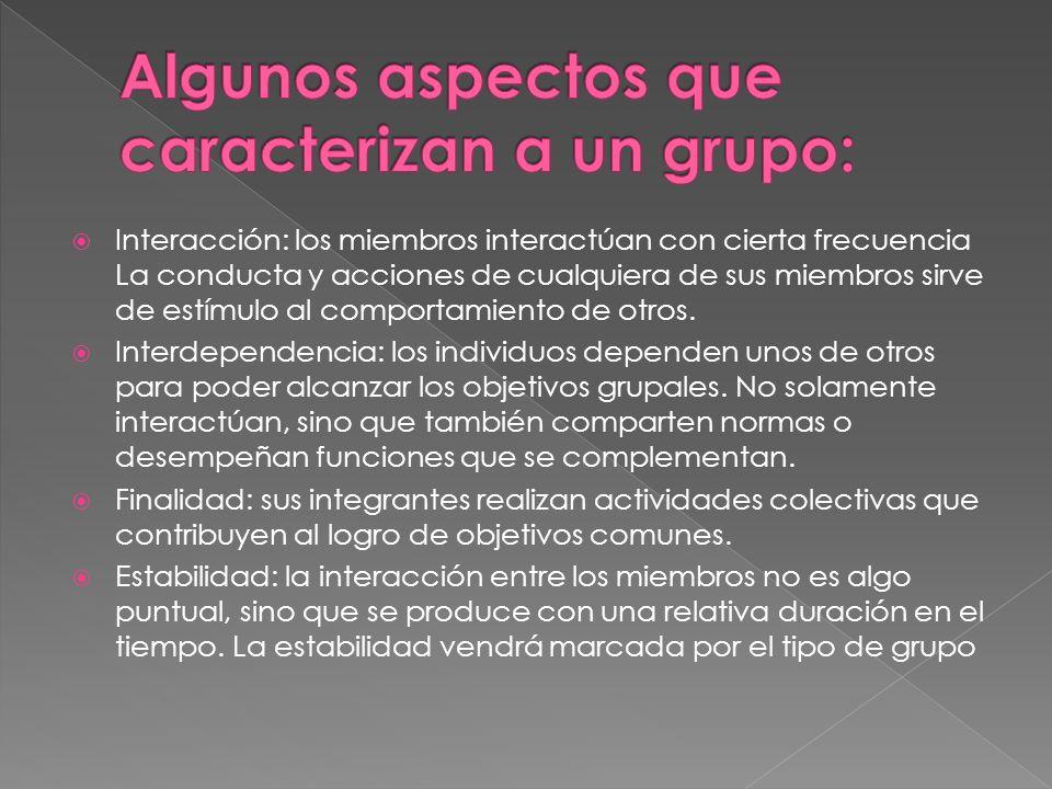 Algunos aspectos que caracterizan a un grupo:
