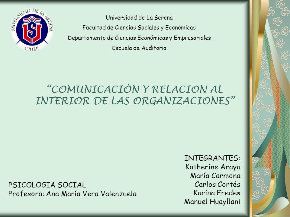 COMUNICACIÓN Y RELACION AL INTERIOR DE LAS ORGANIZACIONES