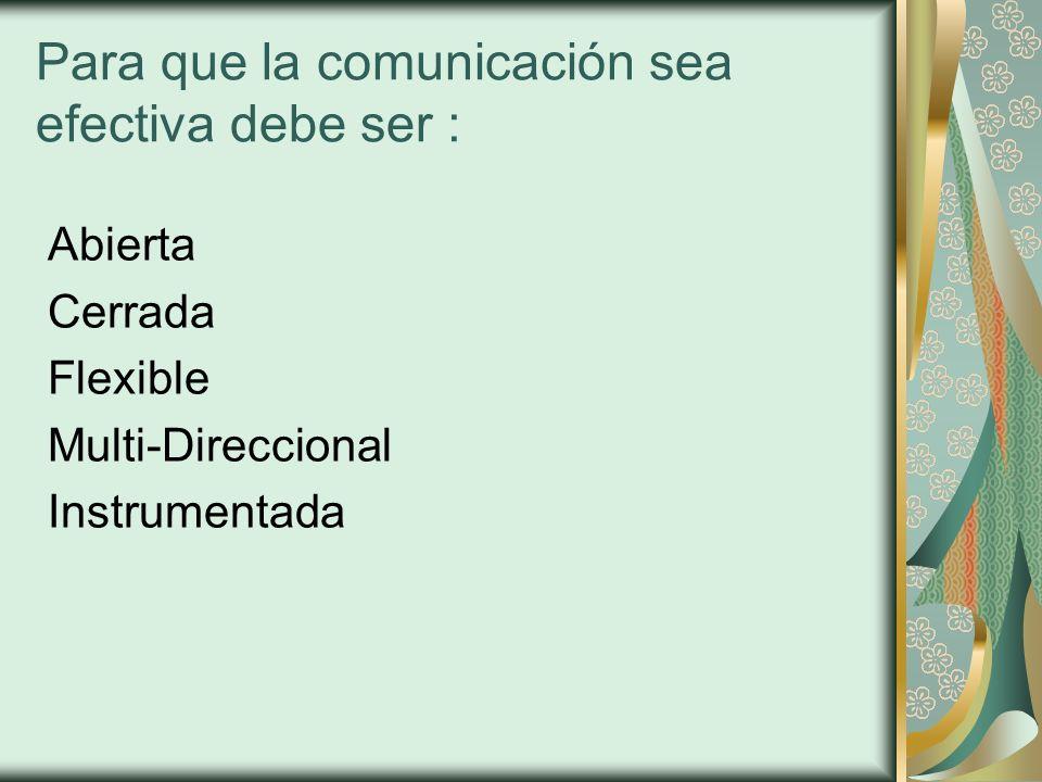 Para que la comunicación sea efectiva debe ser :