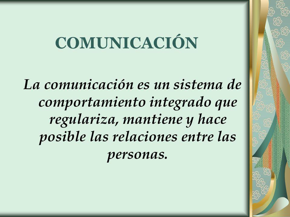 COMUNICACIÓN La comunicación es un sistema de comportamiento integrado que regulariza, mantiene y hace posible las relaciones entre las personas.