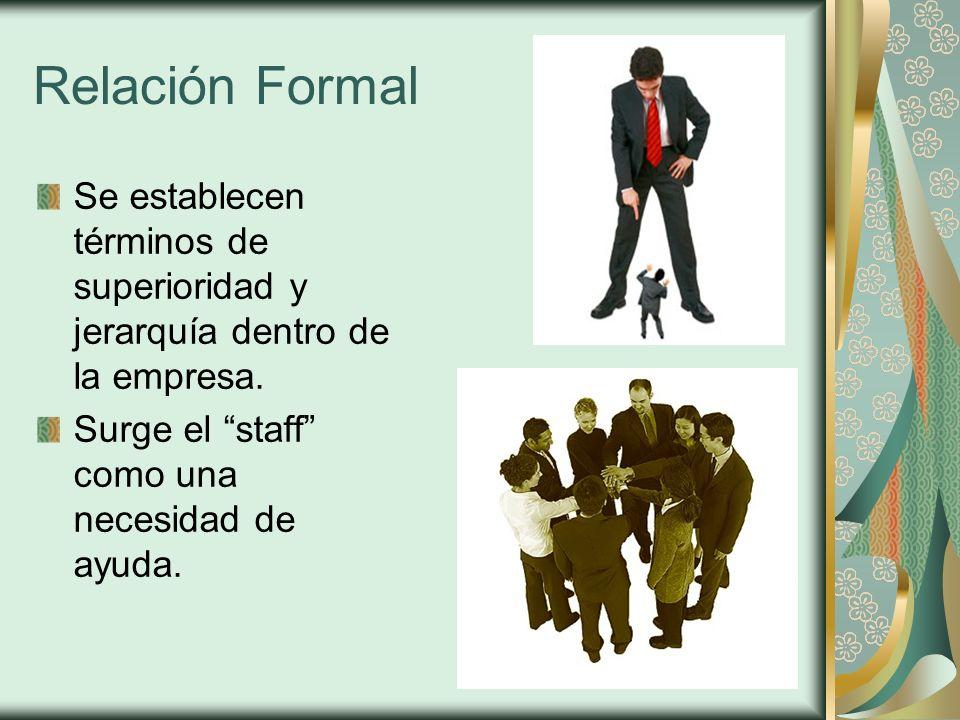 Relación Formal Se establecen términos de superioridad y jerarquía dentro de la empresa.