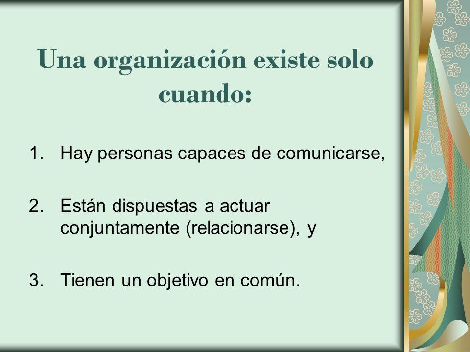 Una organización existe solo cuando: