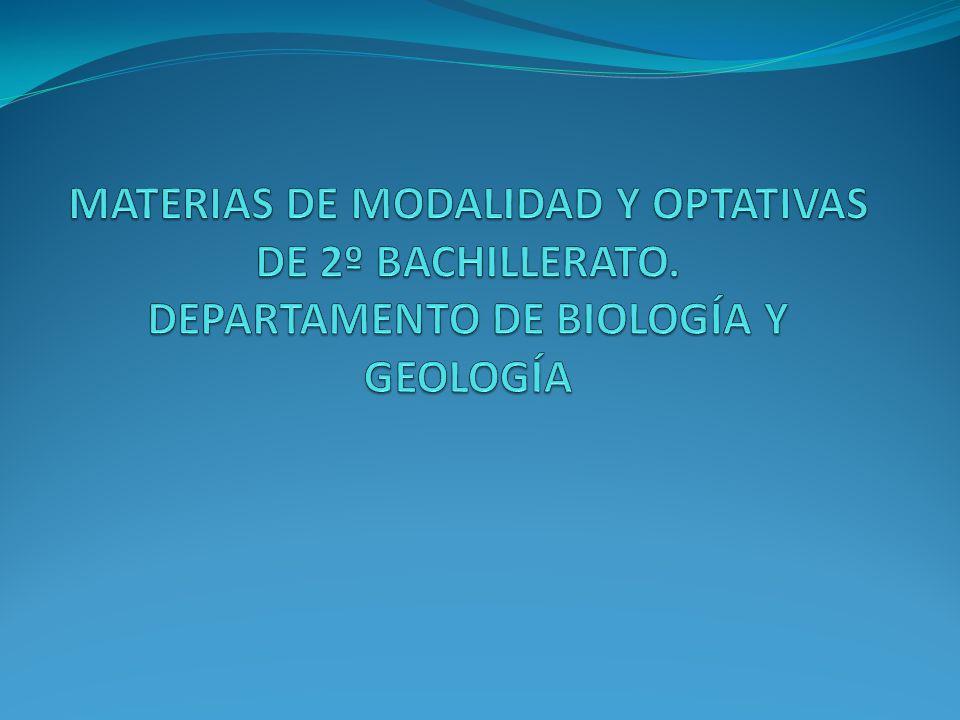 MATERIAS DE MODALIDAD Y OPTATIVAS DE 2º BACHILLERATO