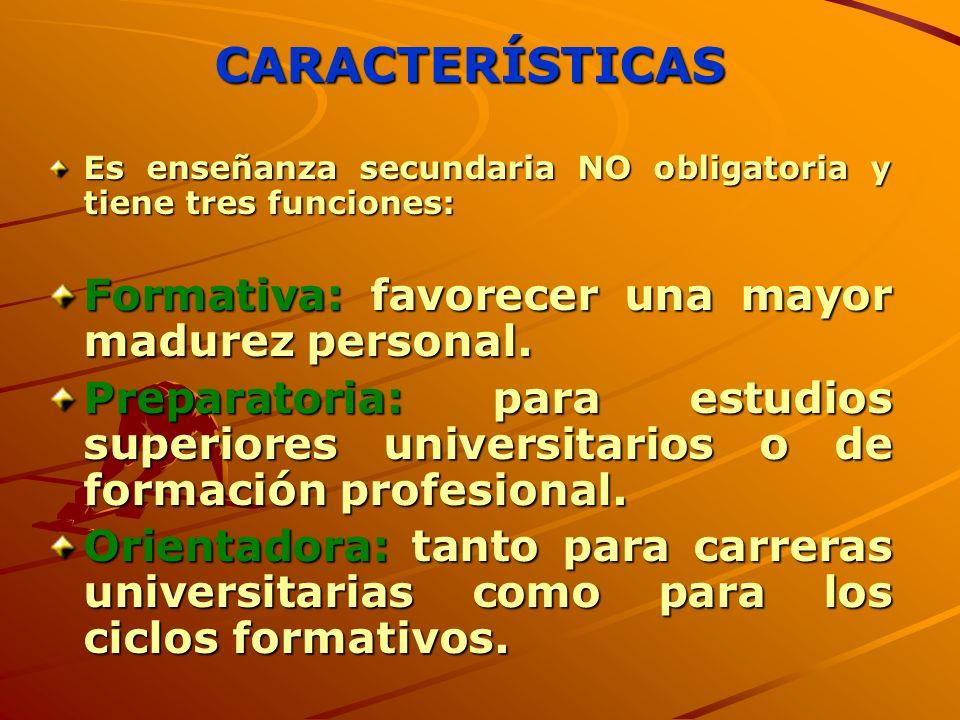 CARACTERÍSTICAS Formativa: favorecer una mayor madurez personal.