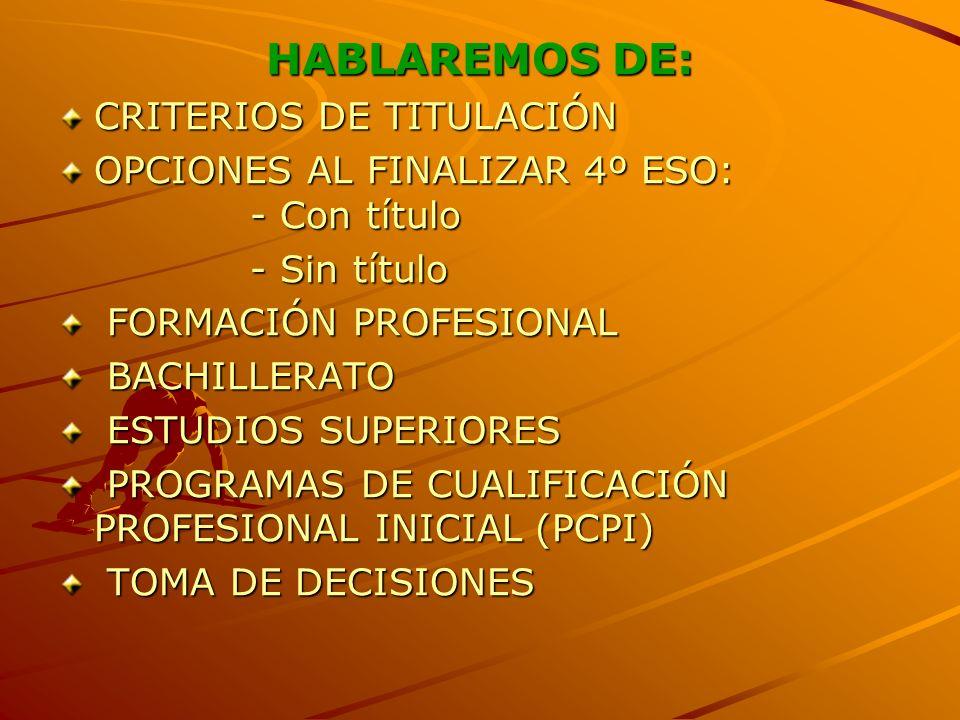 HABLAREMOS DE: CRITERIOS DE TITULACIÓN