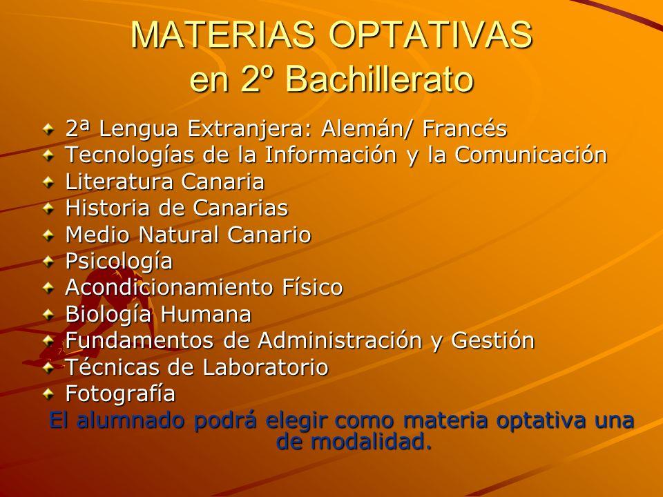 MATERIAS OPTATIVAS en 2º Bachillerato