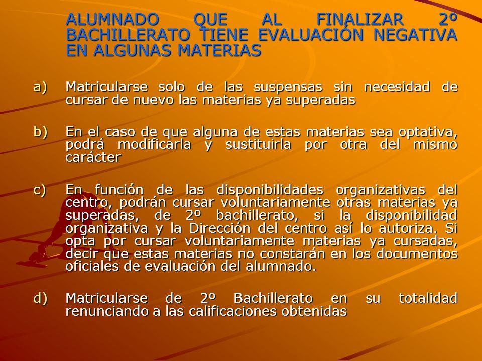 ALUMNADO QUE AL FINALIZAR 2º BACHILLERATO TIENE EVALUACIÓN NEGATIVA EN ALGUNAS MATERIAS