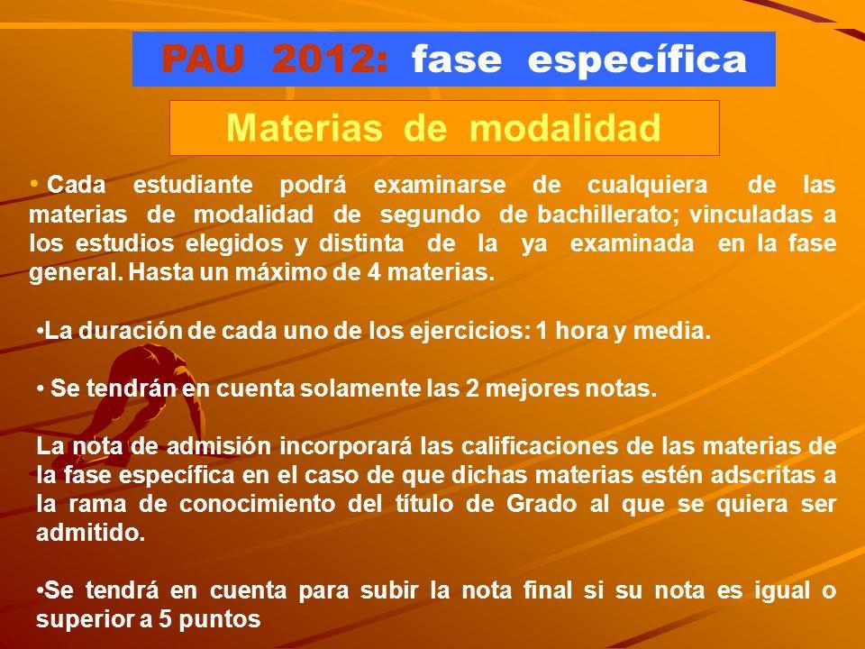 PAU 2012: fase específica Materias de modalidad