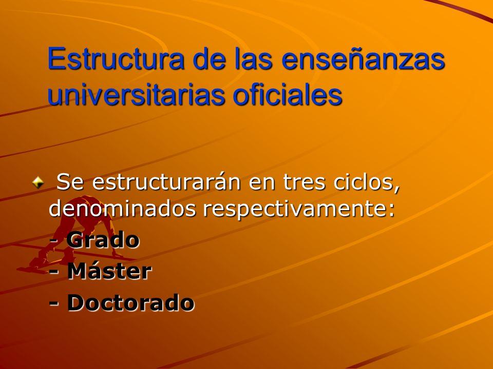 Estructura de las enseñanzas universitarias oficiales
