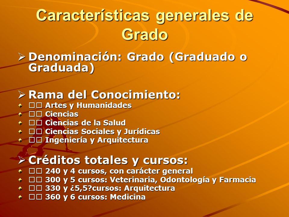 Características generales de Grado