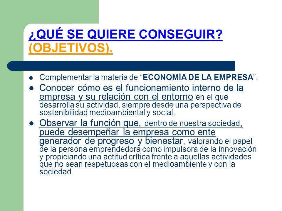 ¿QUÉ SE QUIERE CONSEGUIR (OBJETIVOS).