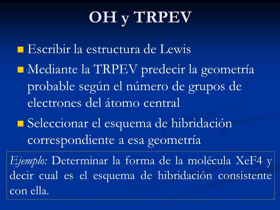 OH y TRPEV Escribir la estructura de Lewis