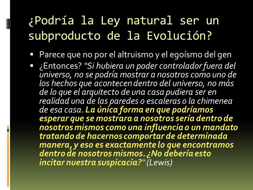 ¿Podría la Ley natural ser un subproducto de la Evolución
