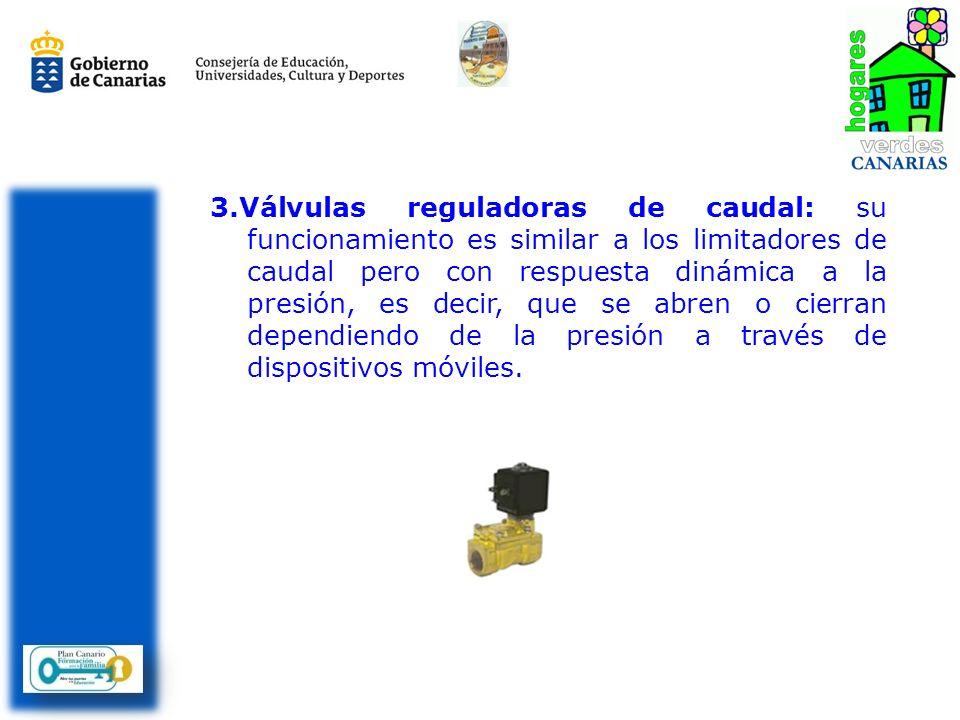 3.Válvulas reguladoras de caudal: su funcionamiento es similar a los limitadores de caudal pero con respuesta dinámica a la presión, es decir, que se abren o cierran dependiendo de la presión a través de dispositivos móviles.