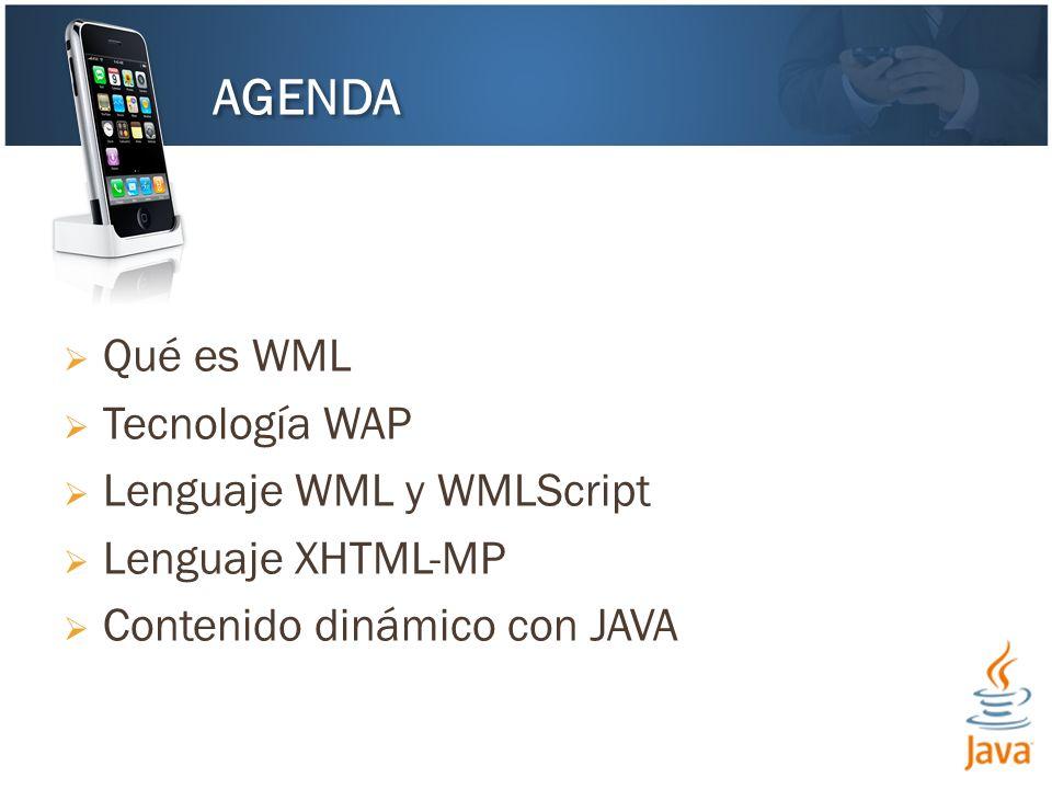 AGENDA Qué es WML Tecnología WAP Lenguaje WML y WMLScript