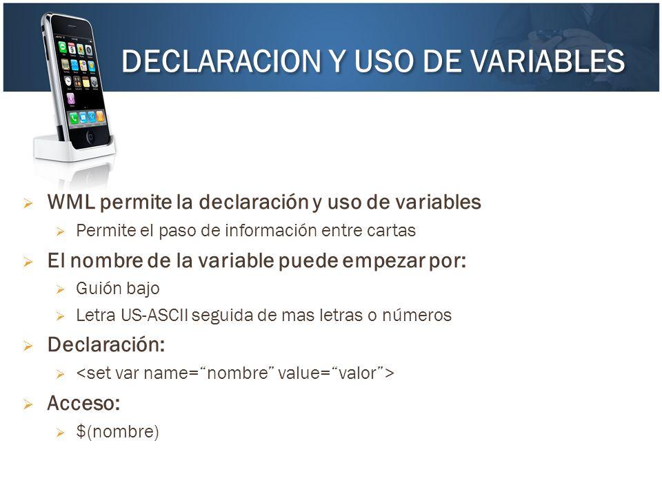 DECLARACION Y USO DE VARIABLES