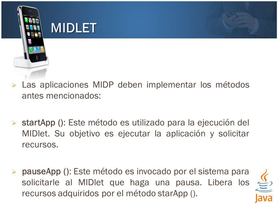 MIDLET Las aplicaciones MIDP deben implementar los métodos antes mencionados: