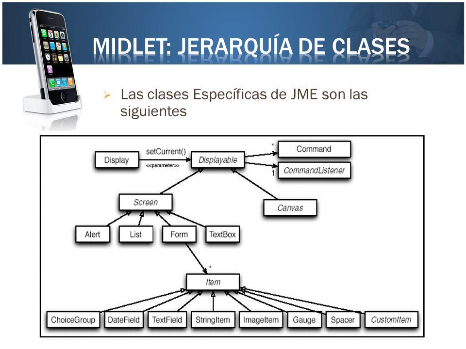 Midlet: Jerarquía de clases