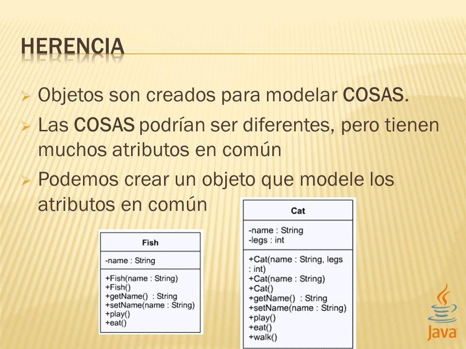 HERENCIA Objetos son creados para modelar COSAS.