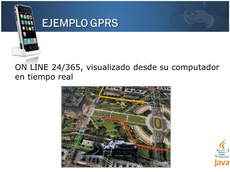 EJEMPLO GPRS ON LINE 24/365, visualizado desde su computador en tiempo real